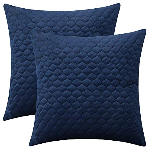 Rythome Set of 2 Decorative Throw Pillow Cover Bedding, Comfortable Accent Cushion Sham Case Couch Sofa, Soft Solid Quilted Velvet Zipper Hidden - 18