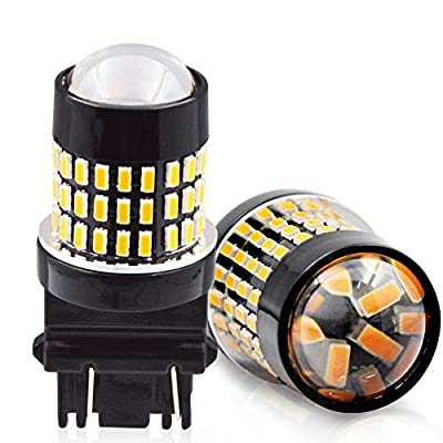 LncBoc 3157 Led Bulbs 1800LM 78SMD 3014 Chipsets with Projector Lens 3156 3056 3057 3157 LED Bulb Super Bright, For Car Auto Parking Backup Reverse Turn Signal Blinker Yellow Lights, 12-24V Pack of 2: Automotive