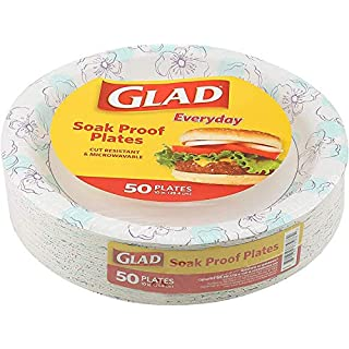 "Glad Round Disposable Paper Plates for All Occasions | New & Improved Quality | Soak Proof, Cut Proof, Microwaveable Heavy Duty Disposable Plates | 10"" Diameter, 50 Count Bulk Paper Plates"