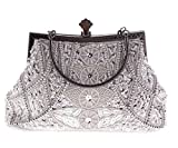Jezozo Women's Vintage Style Beaded And Sequined Evening Bag Silver Wedding Party Handbag Clutch Purse