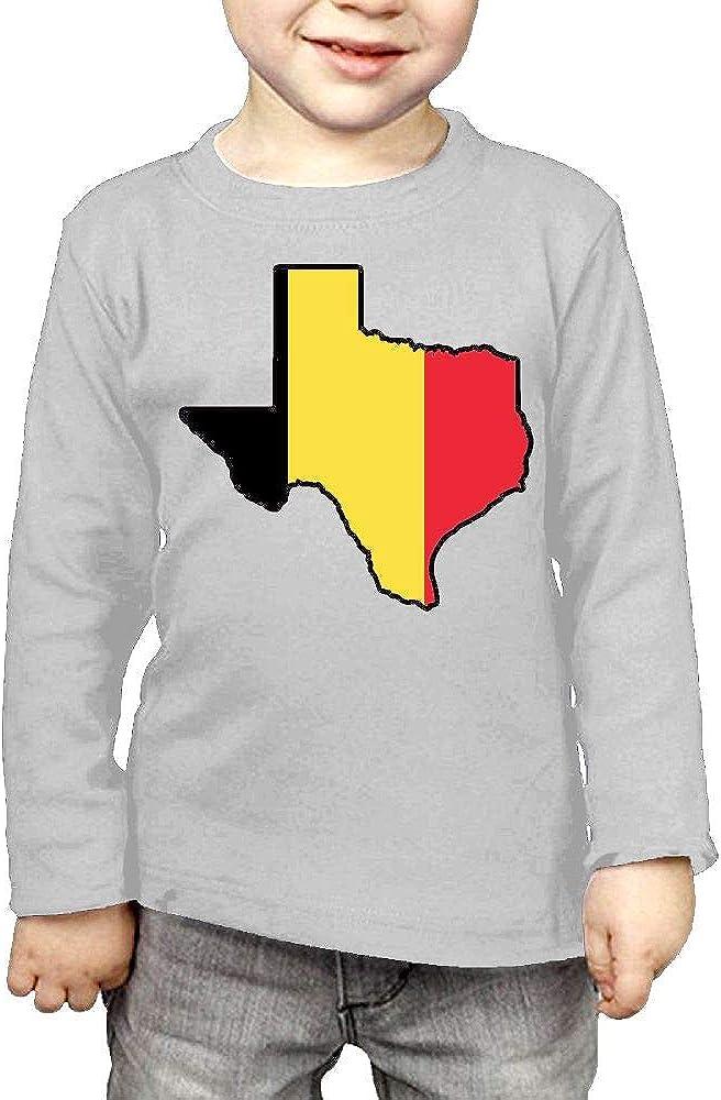 CERTONGCXTS Baby Girls Little Boys Belgium Flag Texas Map ComfortSoft Long Sleeve Shirt