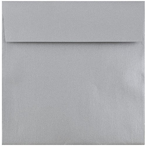 - JAM PAPER 6.5 x 6.5 Square Metallic Invitation Envelopes - Silver Stardream - 25/Pack