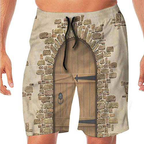 - ScottDecor Quick-Dry Beach Shorts for Men Rustic,Wine Cellar Architecture Workout Shorts XL
