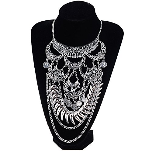4.4 Ounce Case Pack (Ginasy Statement Necklace - Bohemian Jewelry Accessory Gift for Women in Antiallergic Alloy (Crescent Tribal Silver 10864))