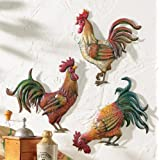 Premium Metal French Country Rooster Wall Art Trio By Besti – Detailed & Vibrant Colours, Perfect Rustic Décor Idea, Lightweight & Easy-To-Clean Design, Super-Cute & Awesome Indoor & Outdoor Decor