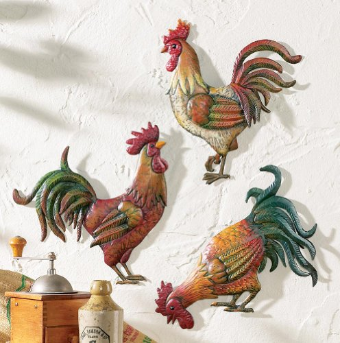 Premium Metal French Country Rooster Wall Art Trio By Besti