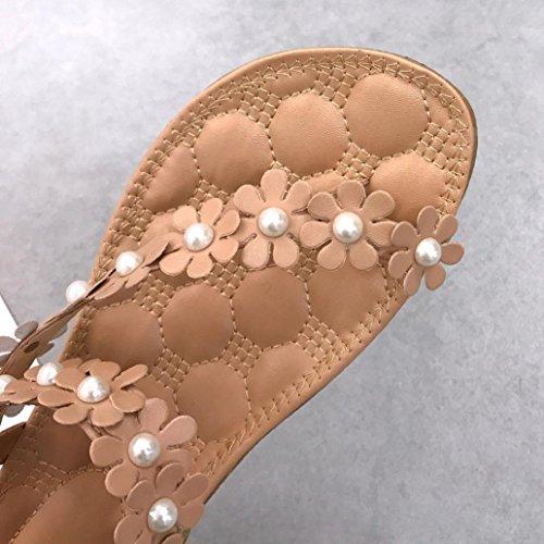 Colorful Summer Bohemia Sandals, (TM) Women Teenager Girls Bohemia Flower Beads Flip-Flop Shoes Flat Sandals Khaki
