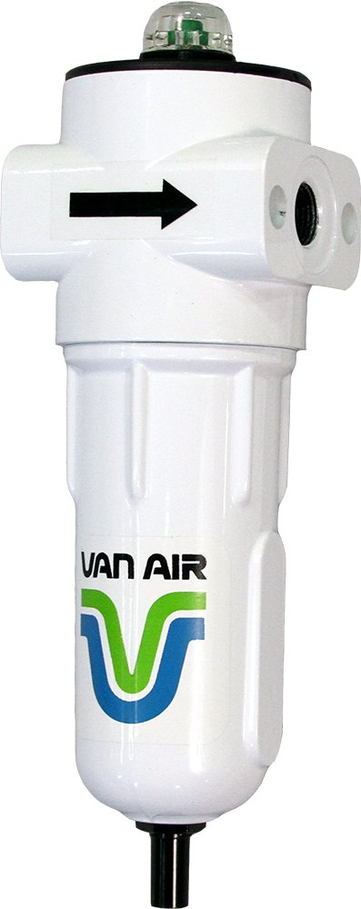 25 CFM White Auto Drain 0.01 /µm Van Air Systems F200-0025-3//8-C-AD-PD6A-C F200 Series Compressed Air Filter Water and Solids 3//8 NPT Differential Pressure Indicator Removes Oil