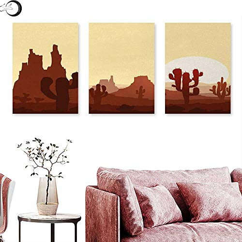 J Chief Sky Cactus Abstract Painting Arid Country Landscape with Sunset in Stone Desert Saguaro and Mountains Triptych Art Set Yellow Brown Redwood W 24