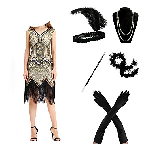 High end 1920s Flapper Dress Great Gatsby Party Evening Sequins Fringed Dresses Gown,B,L,]()