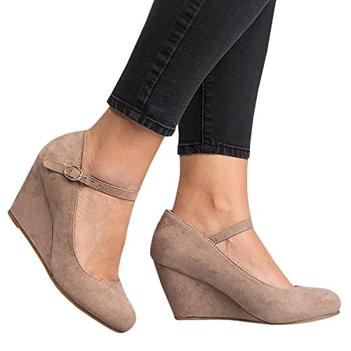 Syktkmx Womens Ankle Strap Mary Jane Wedges Pumps Closed Toe Spring Heeled Office Shoes Khaki 9 B(M) US by Syktkmx