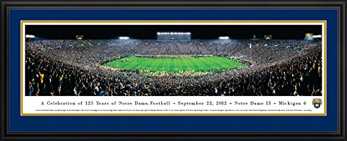 Notre Dame Football - 125th Anniversary - Blakeway Panoramas College Sports Posters with Deluxe Frame