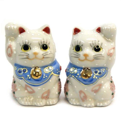 Kutani Japanese Pair Maneki Neko Lucky Cats Sakura Ceramic