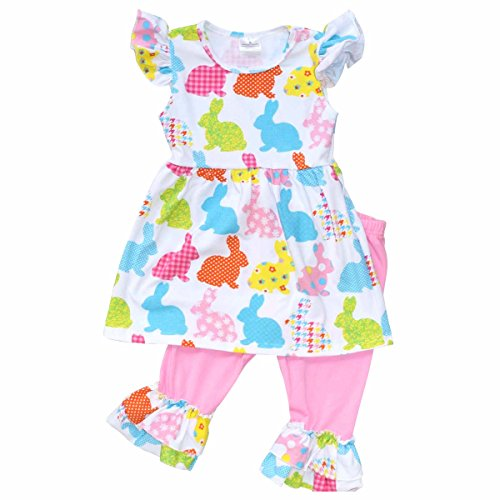 Unique Baby Girls Patterned Easter Bunny Easter Outfit (4T/M, Pink) -