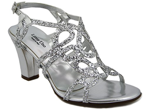 Linea Uno, Sandalo in tessuto glitter argento, tacco 7cm., 903AR e17