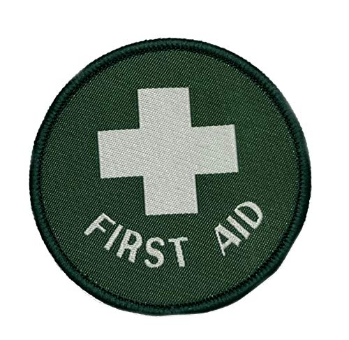 (First Aid Embroidered Patch Tactical Military Morale Patriotic Motorcycle US Veteran EMT Medic Red Cross Series Iron or Sew-on Emblem Badge Appliques Application Fabric Patches)
