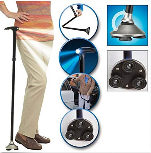 Maple_Leaf Folding Cane Light Aluminum Alloy Adjustable Height Portable Cane Cane Built-in LED Lights Non-Slip Men and Women
