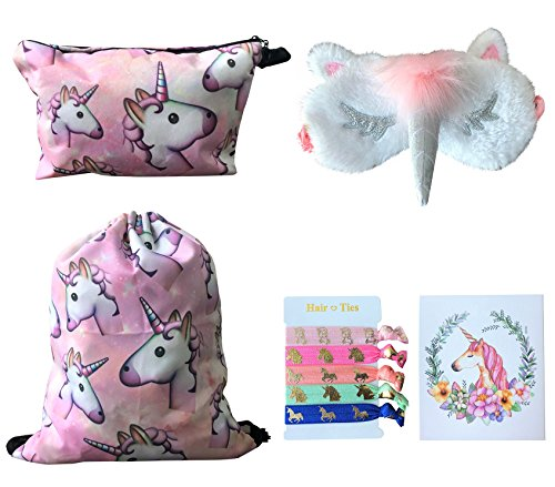 Unicorn Gifts for Girls 5 Pack - Unicorn Drawstring Backpack/Makeup Bag/Eye Mask/Hair Ties/Card (Pink) by Doctor Unicorn