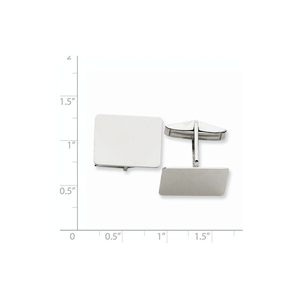 14K White Gold Rectangular Cuff Links by CoutureJewelers (Image #2)