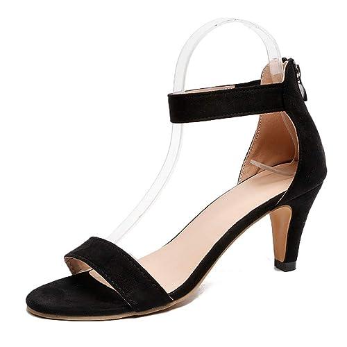 Sandalias Mujer De Tacón Medio Verano Zapatos Con Correa En El Tobillo Hebilla Zapatillas De Vestir Negro Rojo Caqui Leopardo 35 43