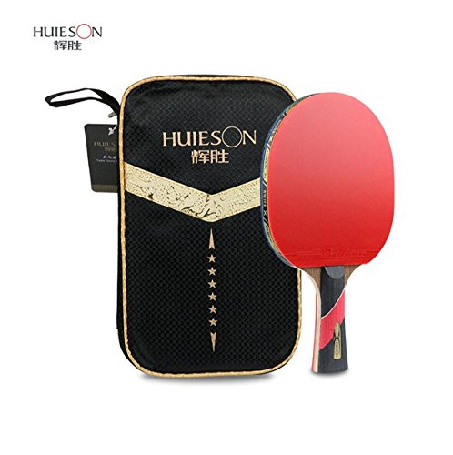 LANFIRE(huieson) 6 Star Table Tennis Racket Pimples-in Rubber Table Tennis Bat Ping Pong Paddle with Bag for Children Hotsale (Long)
