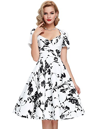 THREESASONS-V-Neck-1950s-Floral-Vintage-Dresses-With-Sleeves-Cut-Out-Back