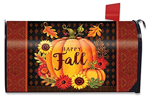 Briarwood Lane Happy Fall Pumpkin Magnetic Mailbox Cover Floral Autumn Standard by Briarwood Lane