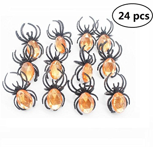 EBTOYS Spider Rings Halloween Party Favors,24 Pieces]()