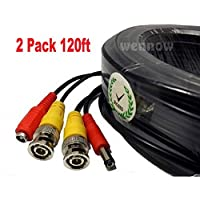 Wennow 2 Pack 120 feet CCTV Security Camera VideoPower BNC Siamese Cable (Black)