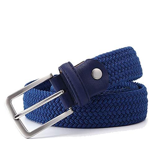 Men Elastic Waist Belt Canvas Woven Leather Belt Stretch Belt For Men,Blue,120cm