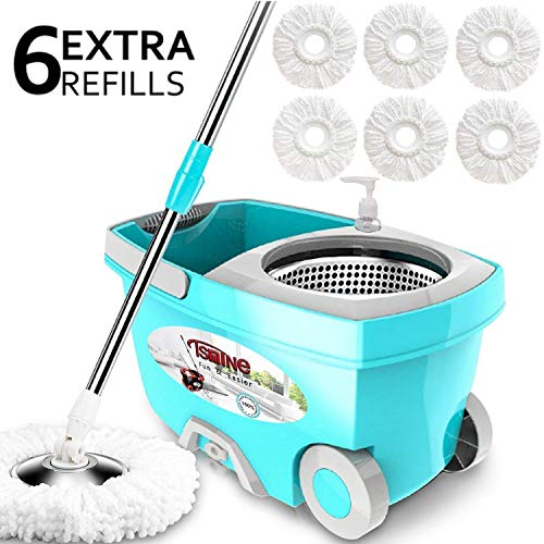 Tsmine Spin Mop Bucket System Stainless Steel Deluxe 360 Spinning Mop Bucket Floor Cleaning System with 6 Microfiber Replacement Head Refills