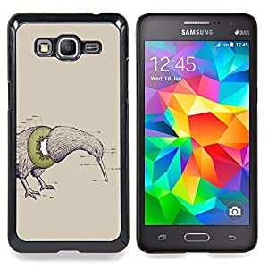 Qstar Arte & diseño plástico duro Fundas Cover Cubre Hard Case Cover para Samsung Galaxy Grand Prime G530H / DS (Oiseau de kiwi Fruit Art dessin au crayon Parole Vert)
