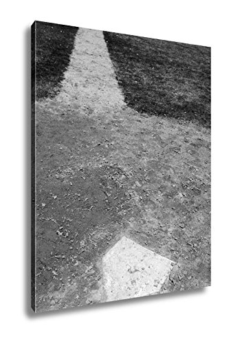 Ashley Canvas Homeplate On Baseball Field, Wall Art Home Decor, Ready to Hang, Black/White, 20x16, AG5104630