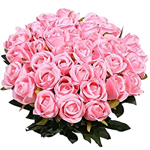 Artificial Flowers Silk Roses Real Touch Bridal Wedding Bouquet for Home Garden Party Floral Decor 10 Pcs 1