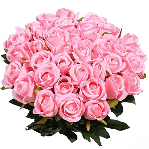 Veryhome Artificial Flowers Silk Roses Fake Bridal Wedding Bouquet for Home Garden Party Floral Decor 10 Pcs (Pink Straight stem)