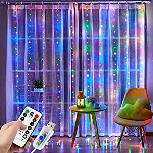 DIZA100 Curtain Lights, 300 LED Curtain Fairy Lights, 3m×3m USB Window Fairy String Lights with 8 Modes Remote Timer for…