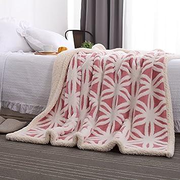 Wohn- & Kuscheldecken Color : Pink, Size : 160x200cm FUWUXIN Einfaches Verdickungslammdecke der japanischen Art Nette Büroabdeckung Beinschal-Decke Sofadecke korallenrote Vliesdecke