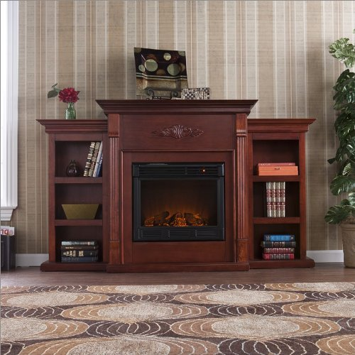 Southern Enterprises Prineville Electric Fireplace in Mahogany with Bookcases