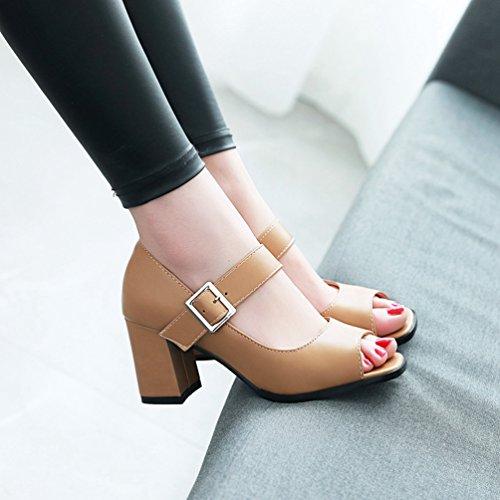 Come Donna Caviglia Peep Xinwcang Toe Fibbia Moda Cinturino Grosso con Tacco Imagine Scarpe Scarpe CxXq4wx7