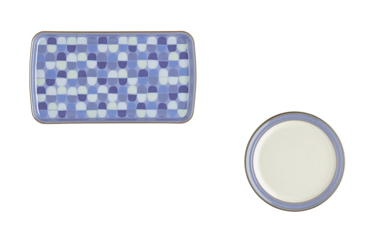 Denby Heritage Fountain Accent Rectangular Plate and Tea Plate, Set of 2