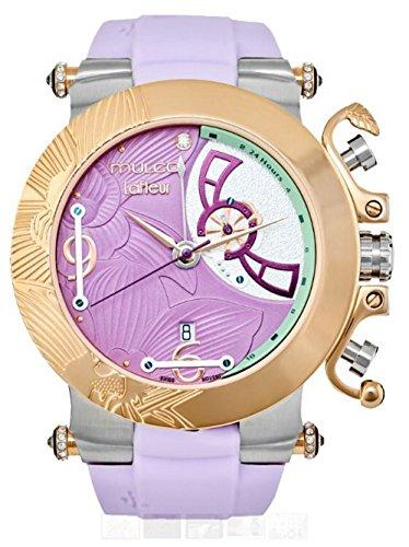- Mulco La Fleur Hortensia Quartz Swiss Multifunctional Movement Women's Watch | Premium Sundial Display Swarovski s Accents | 100% Silicone Watch Band | Water Resistant (Lavender Purple)