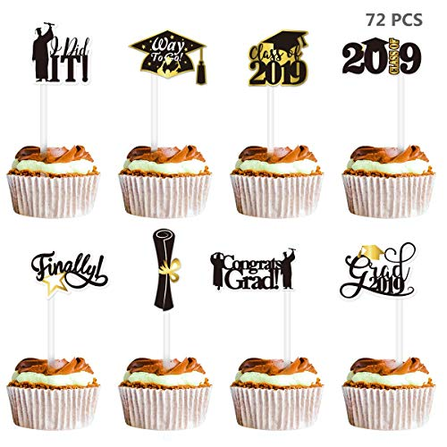 Amosfun 2019 Graduation Cupcake Toppers 72PCS Grad Cake Toppers Picks Graduation Party Decorations Class of 2019 Congrats Grads Party Supplies -