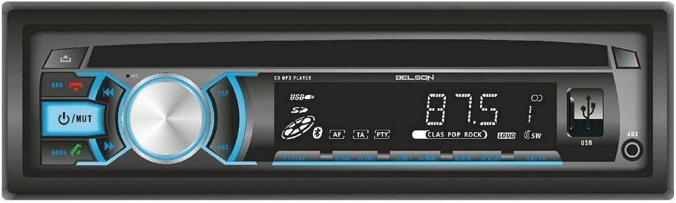 Belson BS-12133BTV2 - Radio CD MP3 con RDS FM/AM, puerto USB, lector de tarjetas SD y manos libres Bluetooth, negro
