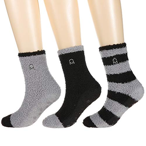 Noble Mount Women's (3 Pairs) Soft Anti-Skid Fuzzy Winter Crew Socks,Set D19,Fit sizes 9-11