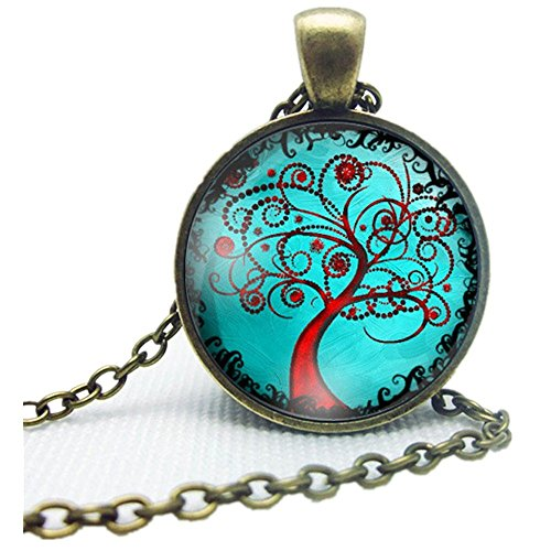 Doinshop New Useful Cute Nice Life Tree Pendant Necklace Art Tree Glass Cabochon Bronze Necklace (N)