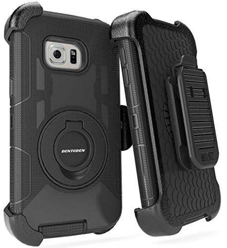 BENTOBEN Galaxy S6 Edge Plus Case, Dual Layer Shockproof Heavy Duty Rugged with Kickstand Belt Clip Holster Hybrid Silicone Phone Full Body Protective Cover for Samsung S6 Edge Plus, Black (What's The Best Screen Protector For Galaxy S6 Edge)