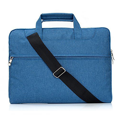 Hulorry Laptop Sleeve Shoulder Bag 15'' MacBook,Laptop Sleeve Case Shoulder Bag Portable Messenger Bag Fabric Water-proof Protective Bag for 15-15.4 Inch Laptop, Notebook, MacBook Air/Pro,Blue by Hulorry