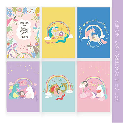Unicorn Room Decor | Set of Six 11X17 Wall Art Poster Decorations | These Gorgeous Posters Come with Sticky Squares for Easy Installation | 6 Piece Wall Art, Wall Decoration for Girls Bedroom