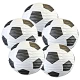 "Just Artifacts Soccer Ball 16"" Round Decorative Paper Lanterns (Set of 5)"