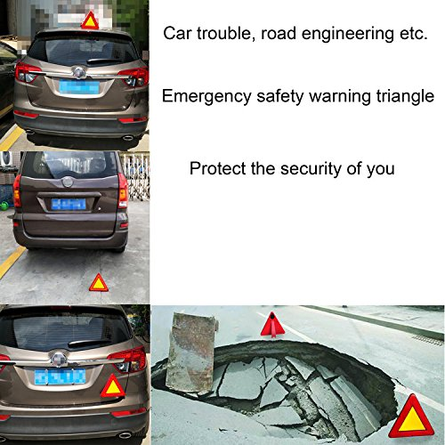 WELLHOME Roadside Red Emergency Safety Triangle Reflective Kit for Vehiclesr,2 Modes Lasting Lighting and Flicker Lighting,9.05 Inch - 1 Pack by WELLHOME (Image #4)